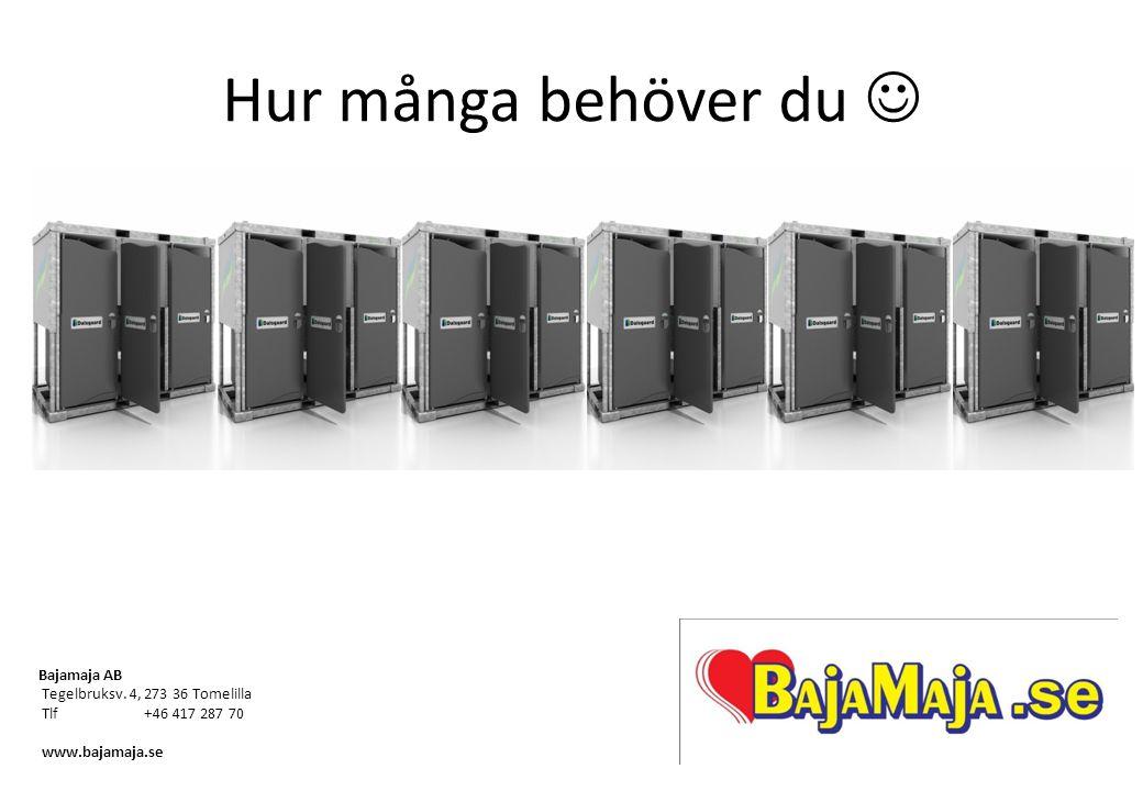 Hur många behöver du Bajamaja AB Tegelbruksv. 4, 273 36 Tomelilla Tlf+46 417 287 70 www.bajamaja.se