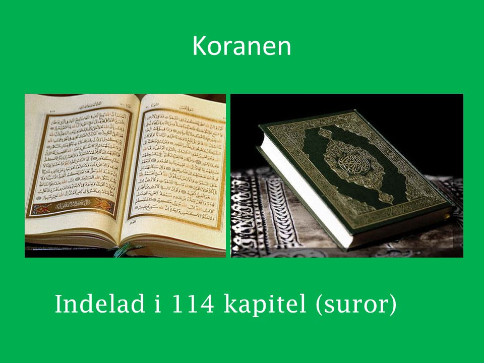 Koranen Indelad i 114 kapitel (suror)