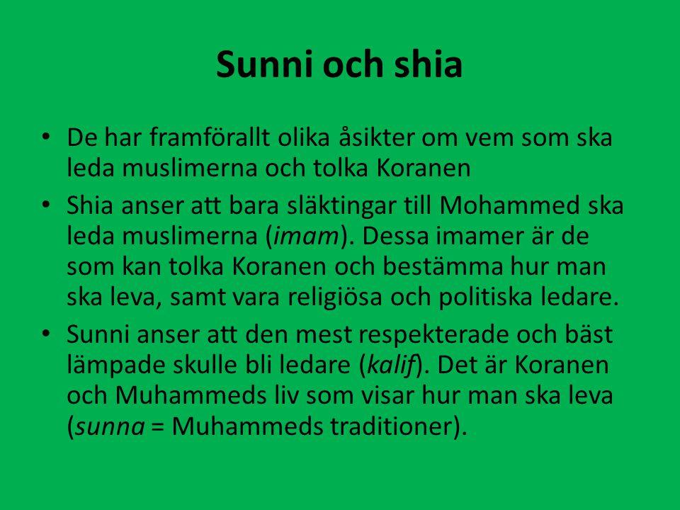 Sunni och shia De har framförallt olika åsikter om vem som ska leda muslimerna och tolka Koranen Shia anser att bara släktingar till Mohammed ska leda