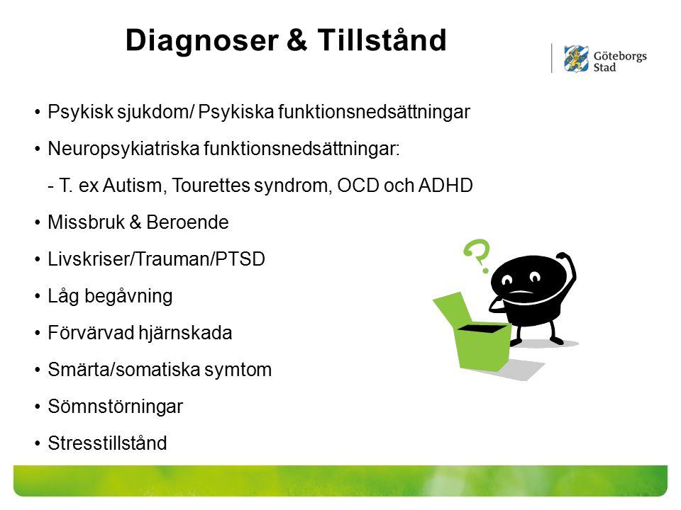 Diagnoser & Tillstånd Psykisk sjukdom/ Psykiska funktionsnedsättningar Neuropsykiatriska funktionsnedsättningar: - T. ex Autism, Tourettes syndrom, OC