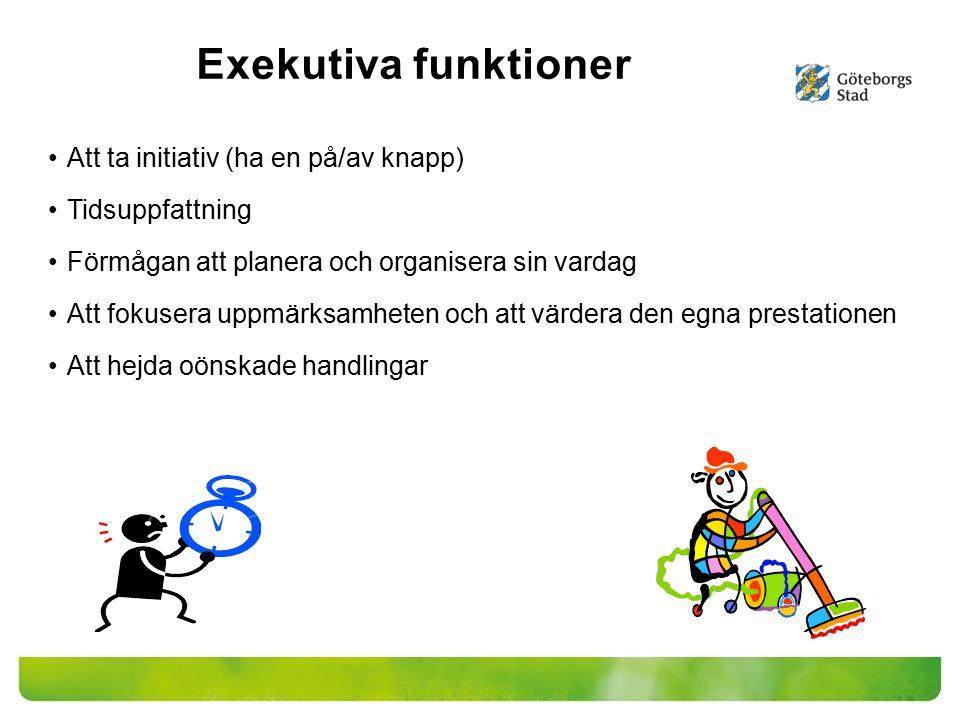 Exekutiva funktioner Att ta initiativ (ha en på/av knapp) Tidsuppfattning Förmågan att planera och organisera sin vardag Att fokusera uppmärksamheten