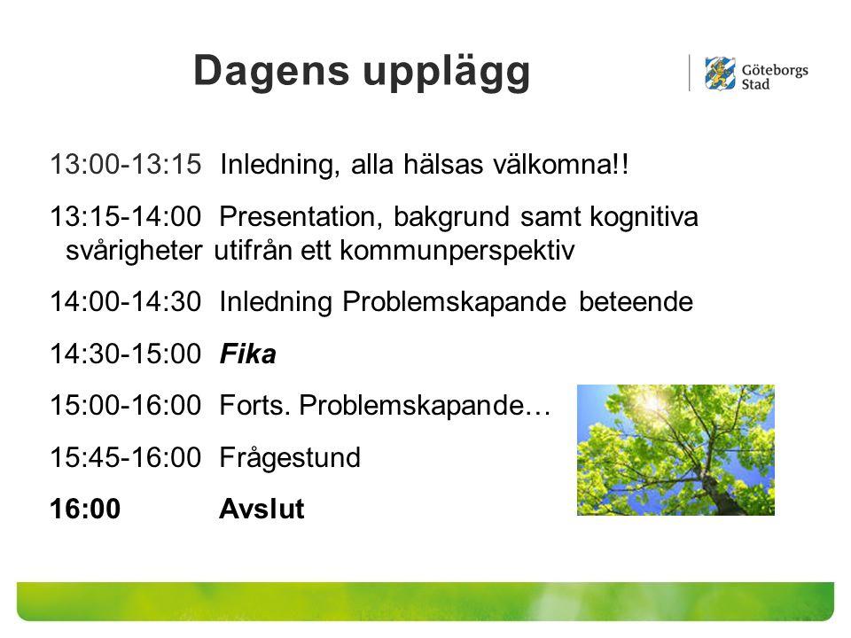 13:00-13:15 Inledning, alla hälsas välkomna!! 13:15-14:00Presentation, bakgrund samt kognitiva svårigheter utifrån ett kommunperspektiv 14:00-14:30 In