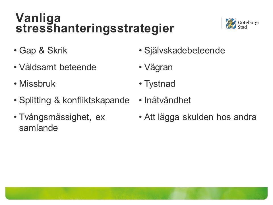 Vanliga stresshanteringsstrategier Gap & Skrik Våldsamt beteende Missbruk Splitting & konfliktskapande Tvångsmässighet, ex samlande Självskadebeteende