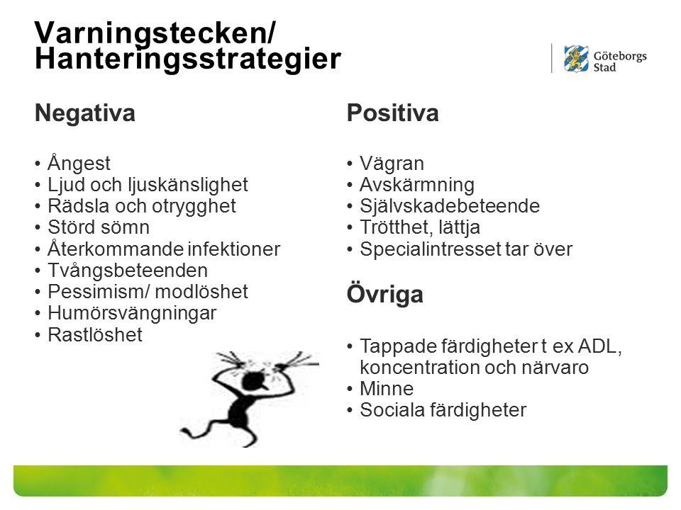 Varningstecken/ Hanteringsstrategier Negativa Ångest Ljud och ljuskänslighet Rädsla och otrygghet Störd sömn Återkommande infektioner Tvångsbeteenden