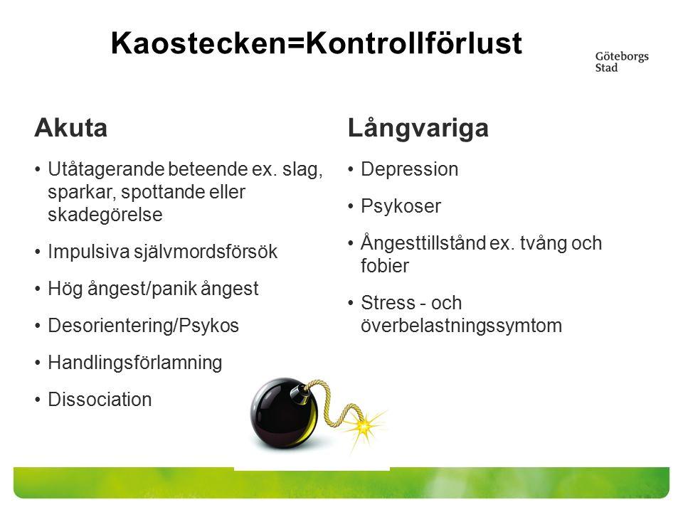 Kaostecken=Kontrollförlust Akuta Utåtagerande beteende ex. slag, sparkar, spottande eller skadegörelse Impulsiva självmordsförsök Hög ångest/panik ång