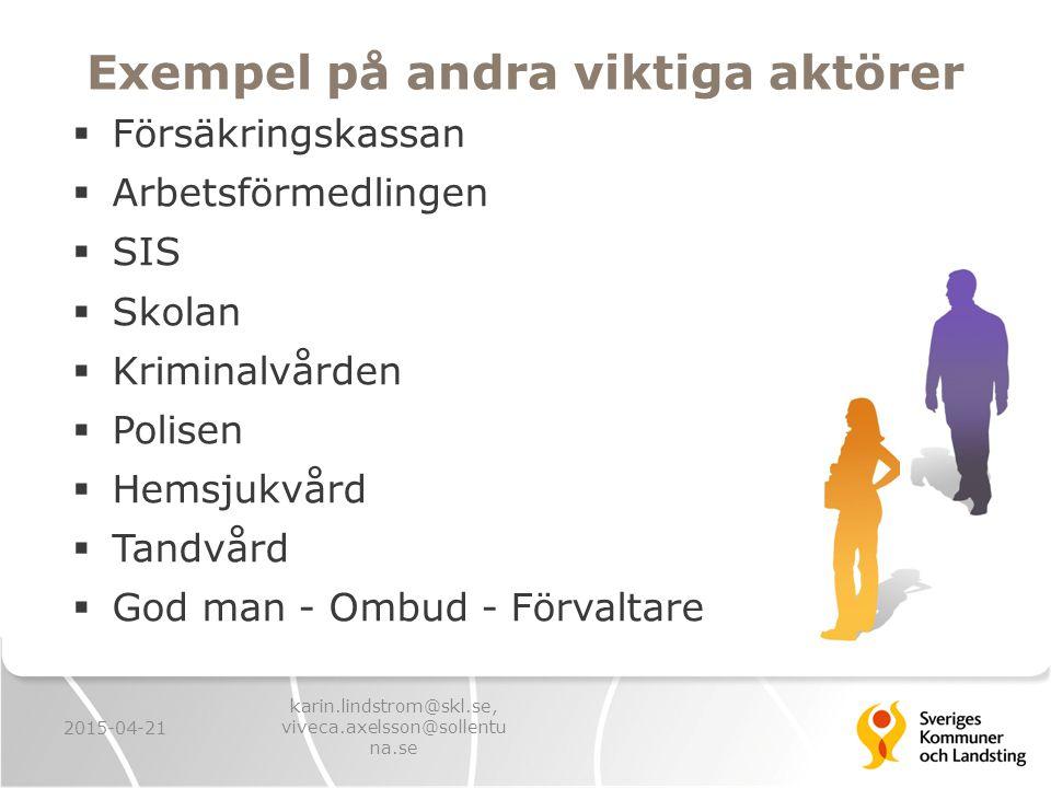 Exempel på andra viktiga aktörer  Försäkringskassan  Arbetsförmedlingen  SIS  Skolan  Kriminalvården  Polisen  Hemsjukvård  Tandvård  God man - Ombud - Förvaltare 2015-04-21 karin.lindstrom@skl.se, viveca.axelsson@sollentu na.se
