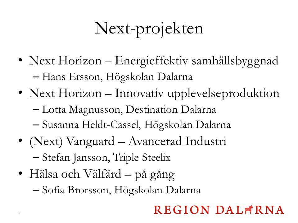 Next-projekten Next Horizon – Energieffektiv samhällsbyggnad – Hans Ersson, Högskolan Dalarna Next Horizon – Innovativ upplevelseproduktion – Lotta Ma