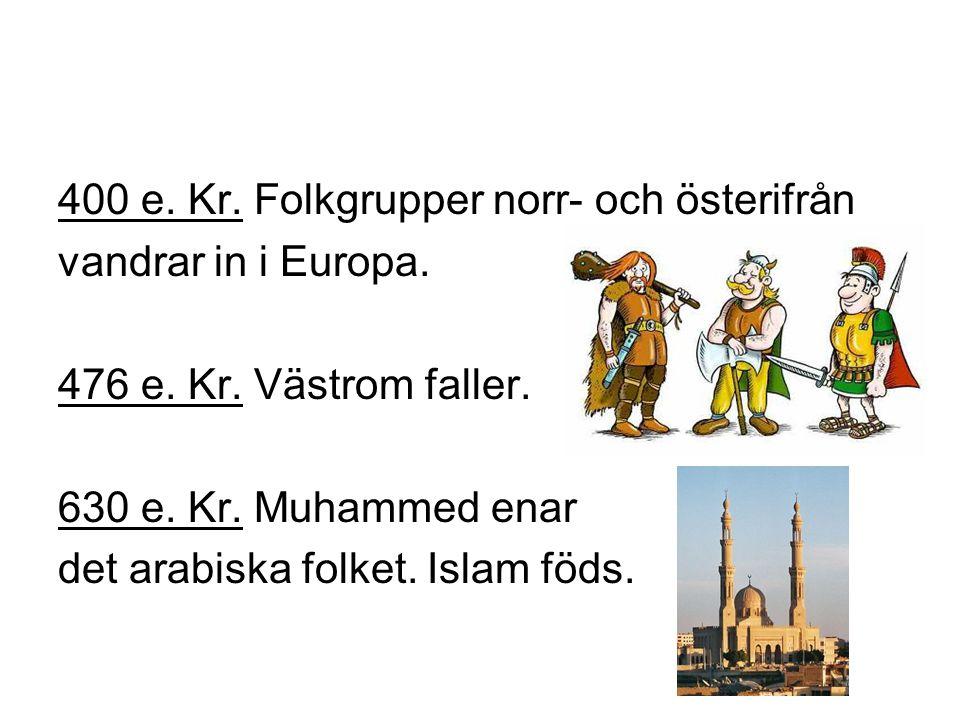 400 e.Kr. Folkgrupper norr- och österifrån vandrar in i Europa.