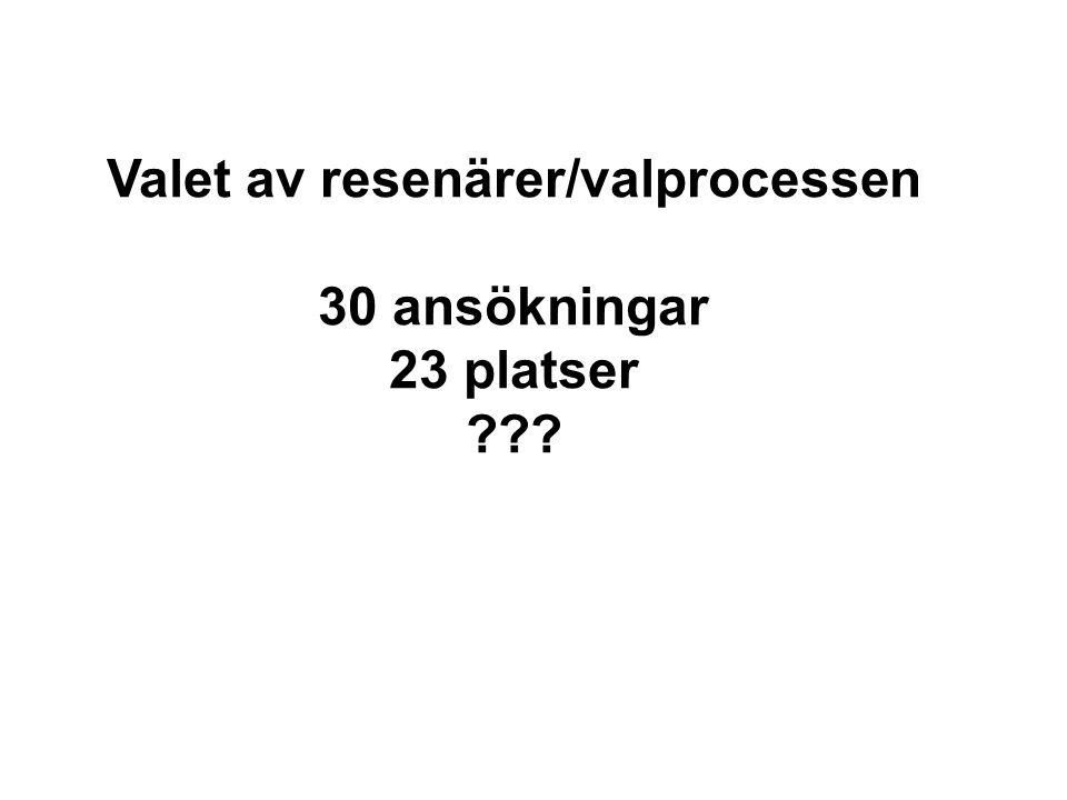 Valet av resenärer/valprocessen 30 ansökningar 23 platser
