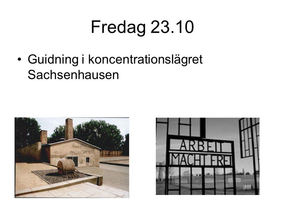 Fredag 23.10 Guidning i koncentrationslägret Sachsenhausen