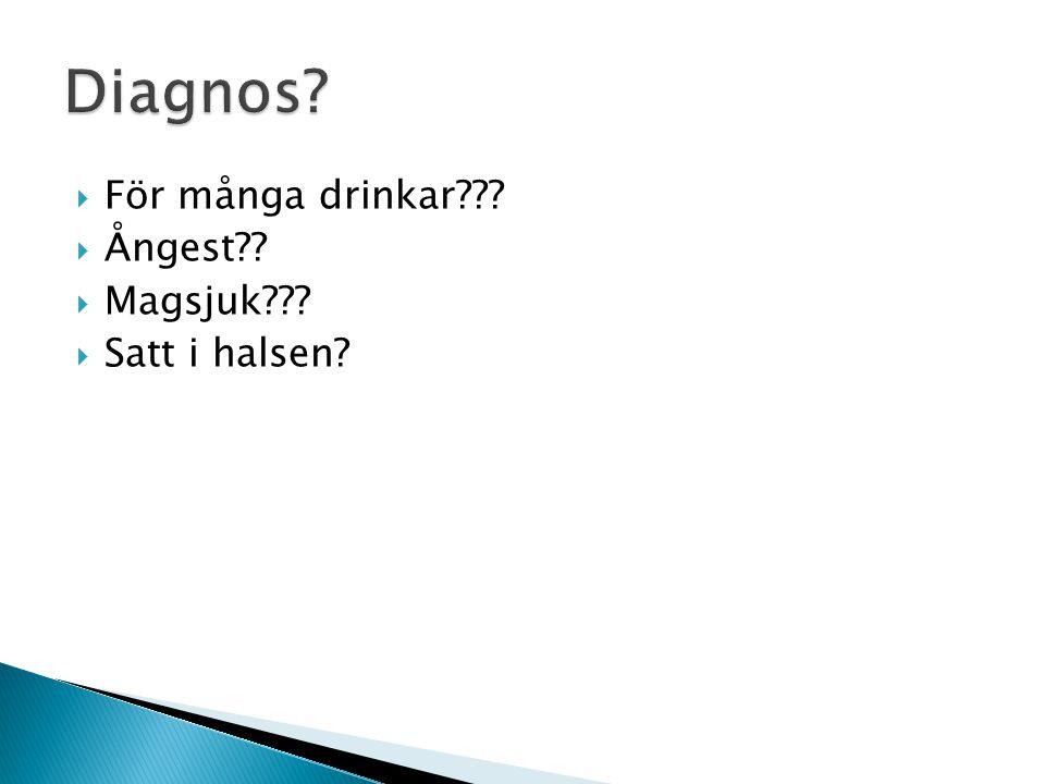  För många drinkar???  Ångest??  Magsjuk???  Satt i halsen?