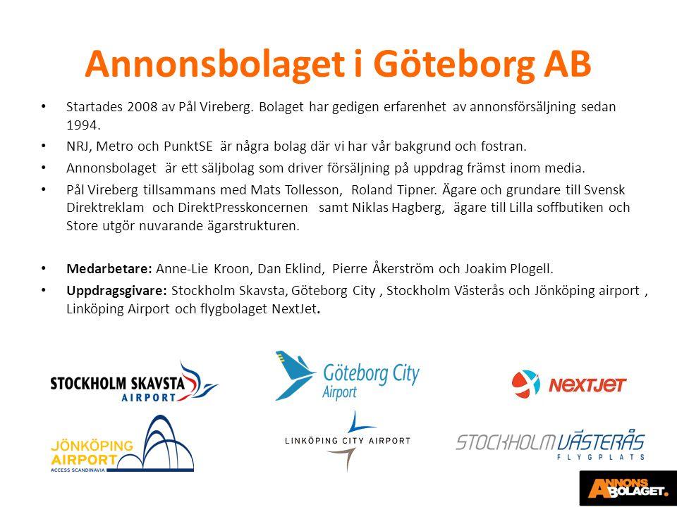 Annonsbolaget i Göteborg AB Startades 2008 av Pål Vireberg. Bolaget har gedigen erfarenhet av annonsförsäljning sedan 1994. NRJ, Metro och PunktSE är