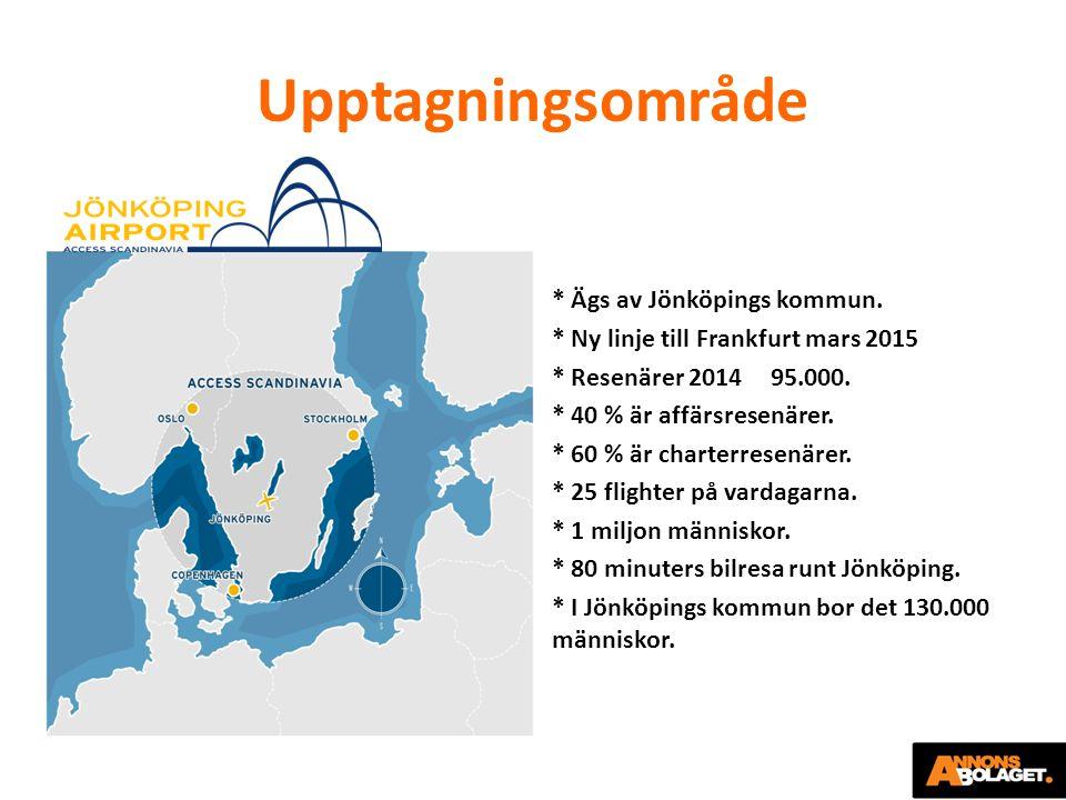 Upptagningsområde * Ägs av Jönköpings kommun. * Ny linje till Frankfurt mars 2015 * Resenärer 2014 95.000. * 40 % är affärsresenärer. * 60 % är charte