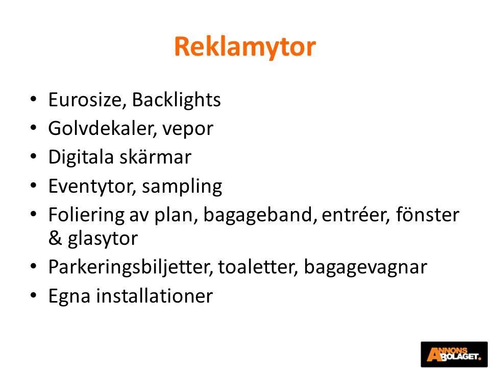 Reklamytor Eurosize, Backlights Golvdekaler, vepor Digitala skärmar Eventytor, sampling Foliering av plan, bagageband, entréer, fönster & glasytor Par
