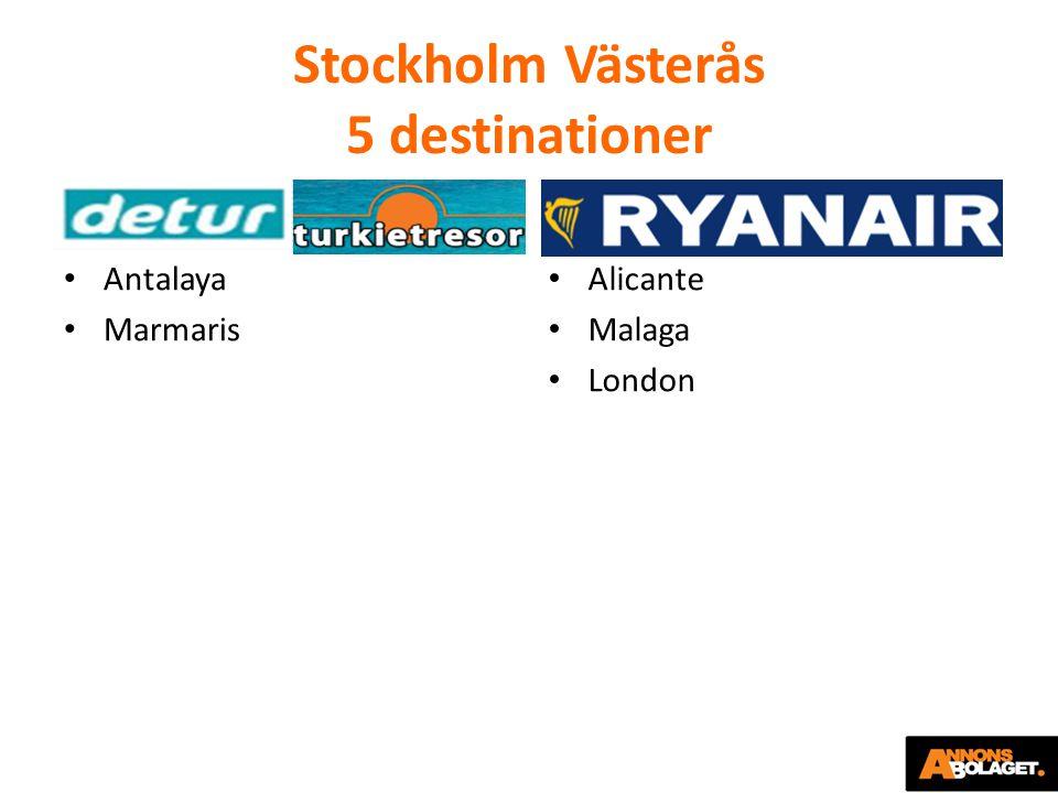 Stockholm Västerås 5 destinationer Antalaya Marmaris Alicante Malaga London