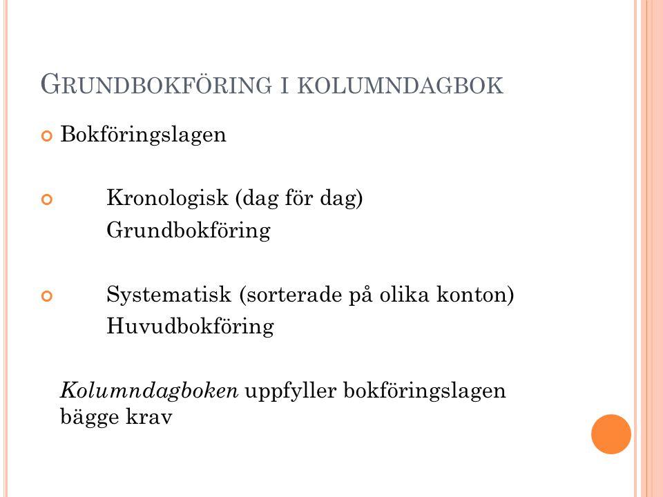 G RUNDBOKFÖRING I KOLUMNDAGBOK Bokföringslagen Kronologisk (dag för dag) Grundbokföring Systematisk (sorterade på olika konton) Huvudbokföring Kolumnd
