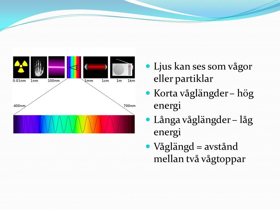 Ljus kan ses som vågor eller partiklar Korta våglängder – hög energi Långa våglängder – låg energi Våglängd = avstånd mellan två vågtoppar