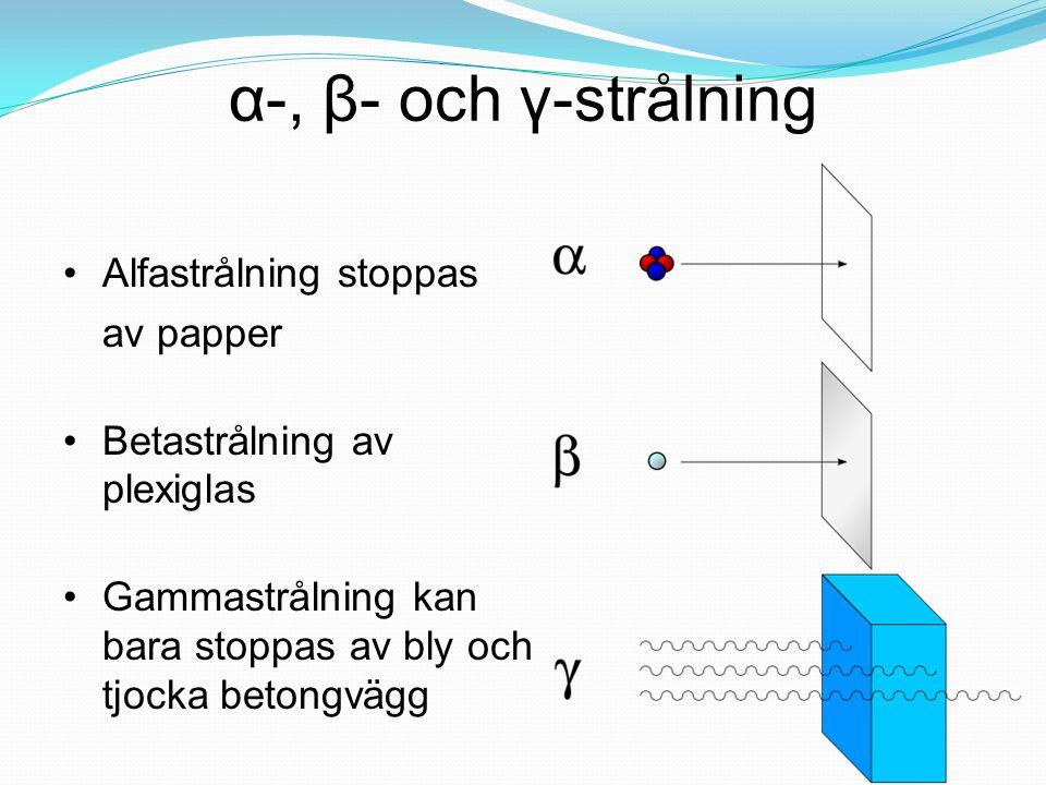α-, β- och γ-strålning Alfastrålning stoppas av papper Betastrålning av plexiglas Gammastrålning kan bara stoppas av bly och tjocka betongvägg