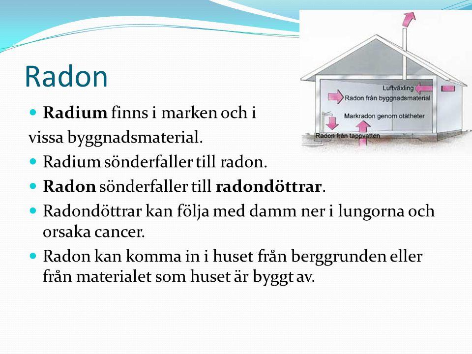 Radon Radium finns i marken och i vissa byggnadsmaterial. Radium sönderfaller till radon. Radon sönderfaller till radondöttrar. Radondöttrar kan följa