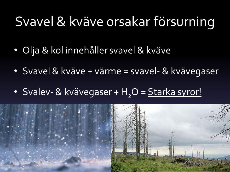 Svavel & kväve orsakar försurning Olja & kol innehåller svavel & kväve Svavel & kväve + värme = svavel- & kvävegaser Svalev- & kvävegaser + H 2 O = St