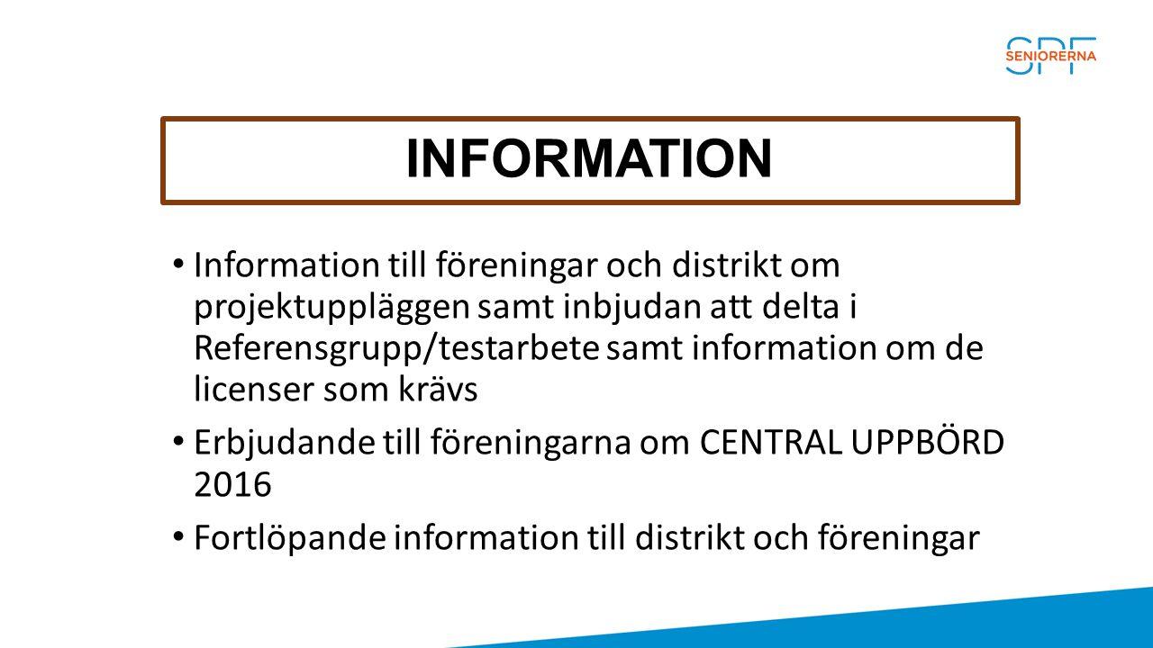 INFORMATION Information till föreningar och distrikt om projektuppläggen samt inbjudan att delta i Referensgrupp/testarbete samt information om de lic
