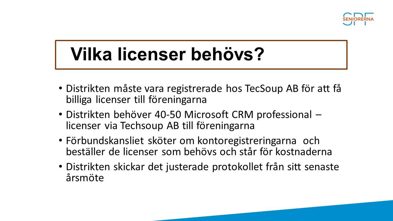 Vilka licenser behövs? Distrikten måste vara registrerade hos TecSoup AB för att få billiga licenser till föreningarna Distrikten behöver 40-50 Micros