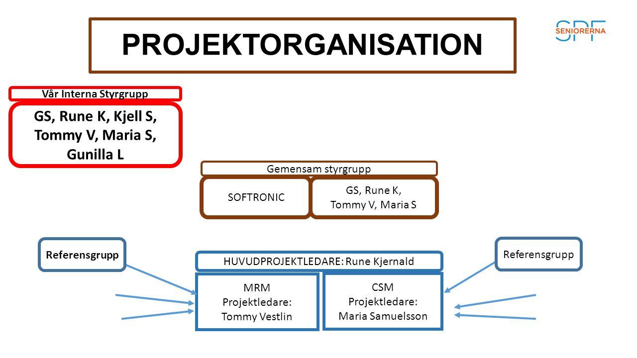 PROJEKTORGANISATION GS, Rune K, Kjell S, Tommy V, Maria S, Gunilla L Gemensam styrgrupp MRM Projektledare: Tommy Vestlin HUVUDPROJEKTLEDARE: Rune Kjer