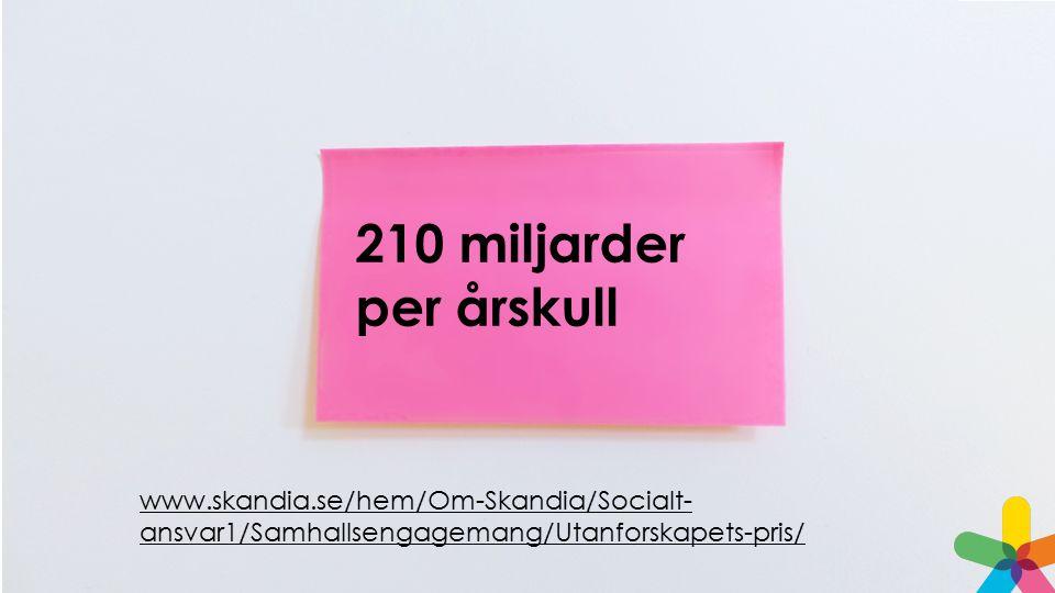 210 miljarder per årskull www.skandia.se/hem/Om-Skandia/Socialt- ansvar1/Samhallsengagemang/Utanforskapets-pris/