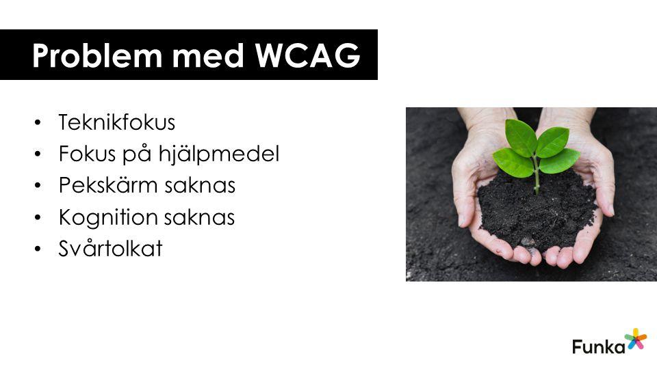 Problem med WCAG Teknikfokus Fokus på hjälpmedel Pekskärm saknas Kognition saknas Svårtolkat