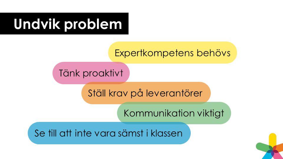 Undvik problem Expertkompetens behövs Tänk proaktivt Ställ krav på leverantörer Kommunikation viktigt Se till att inte vara sämst i klassen