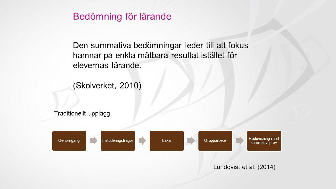 Bedömning för lärande Kunskapsområden i sekvenser Lundqvist et al.