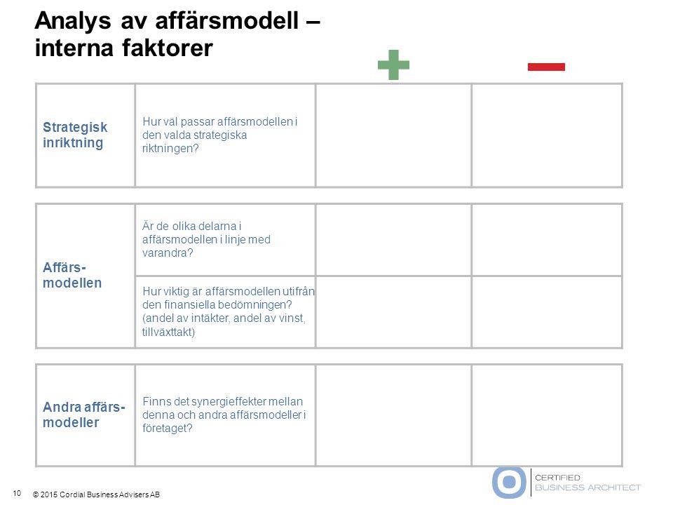 © 2015 Cordial Business Advisers AB Analys av affärsmodell – interna faktorer 10 Strategisk inriktning Hur väl passar affärsmodellen i den valda strat