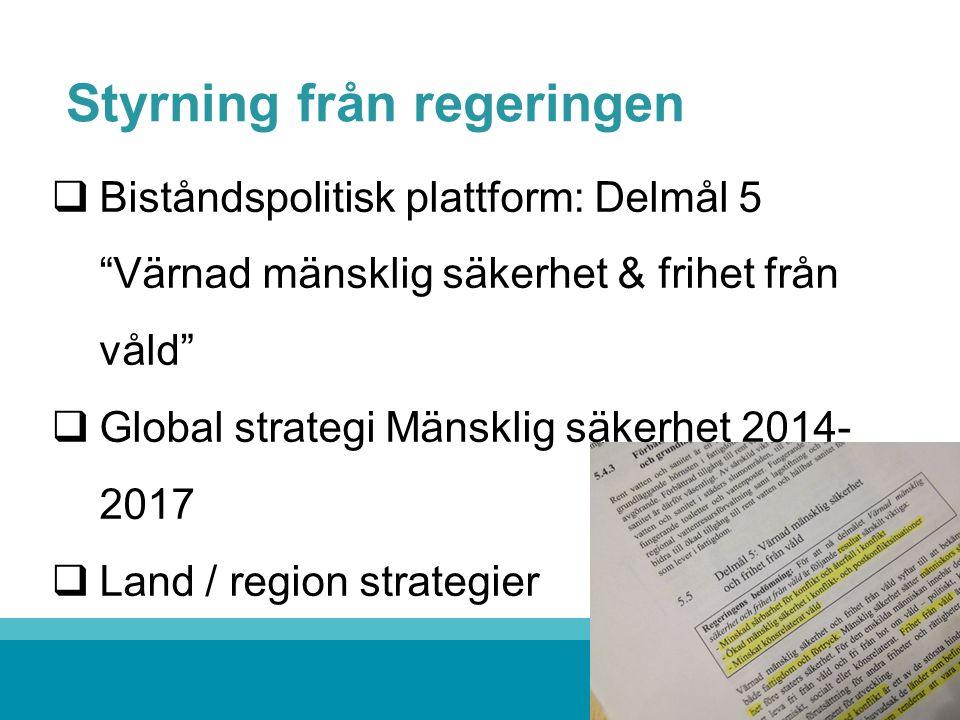 Styrning från regeringen  Biståndspolitisk plattform: Delmål 5 Värnad mänsklig säkerhet & frihet från våld  Global strategi Mänsklig säkerhet 2014- 2017  Land / region strategier