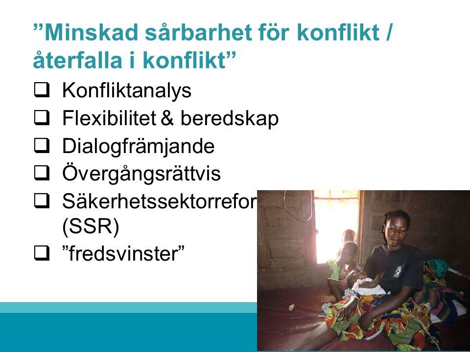 """""""Minskad sårbarhet för konflikt / återfalla i konflikt""""  Konfliktanalys  Flexibilitet & beredskap  Dialogfrämjande  Övergångsrättvis  Säkerhetsse"""