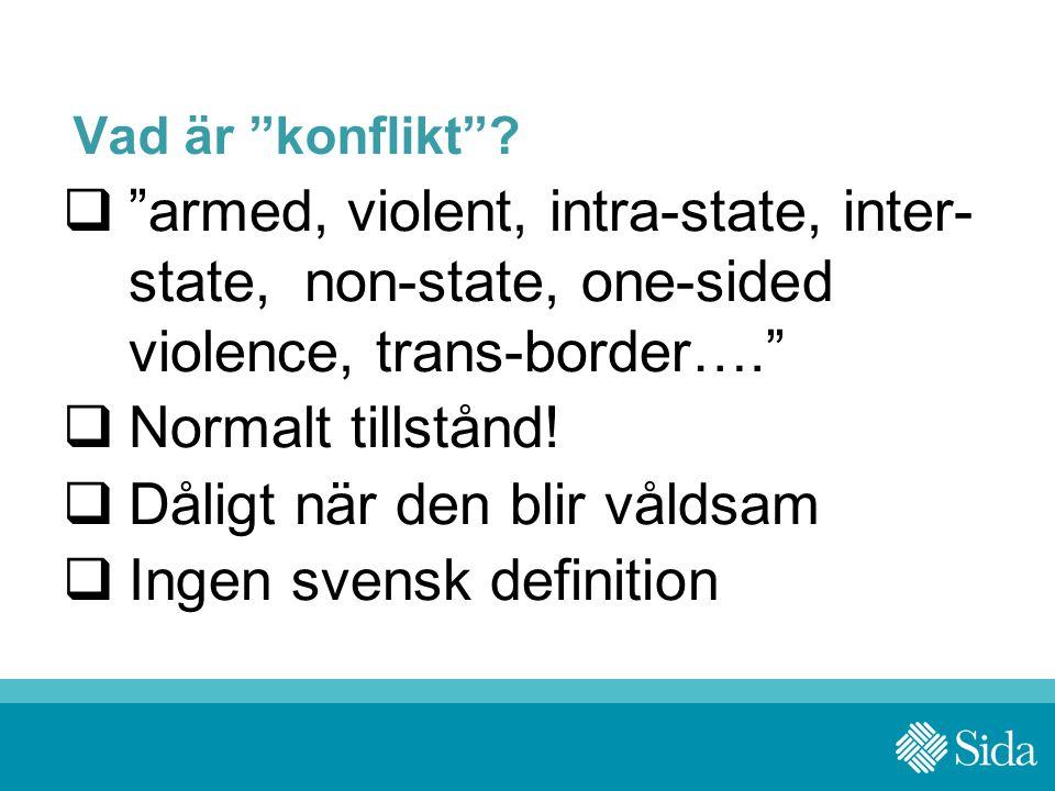 """Vad är """"konflikt""""?  """"armed, violent, intra-state, inter- state, non-state, one-sided violence, trans-border….""""  Normalt tillstånd!  Dåligt när den"""