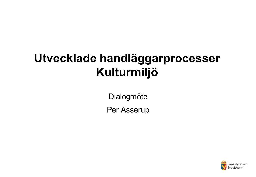 Utvecklade handläggarprocesser Kulturmiljö Dialogmöte Per Asserup
