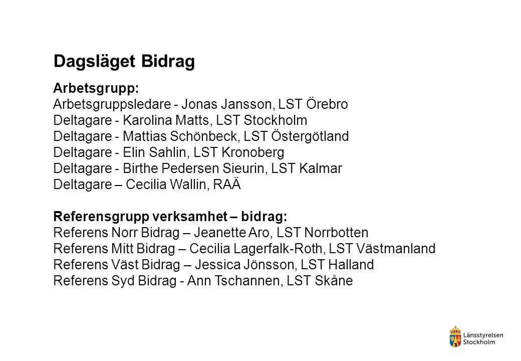 Arbetsgrupp: Arbetsgruppsledare - Jonas Jansson, LST Örebro Deltagare - Karolina Matts, LST Stockholm Deltagare - Mattias Schönbeck, LST Östergötland