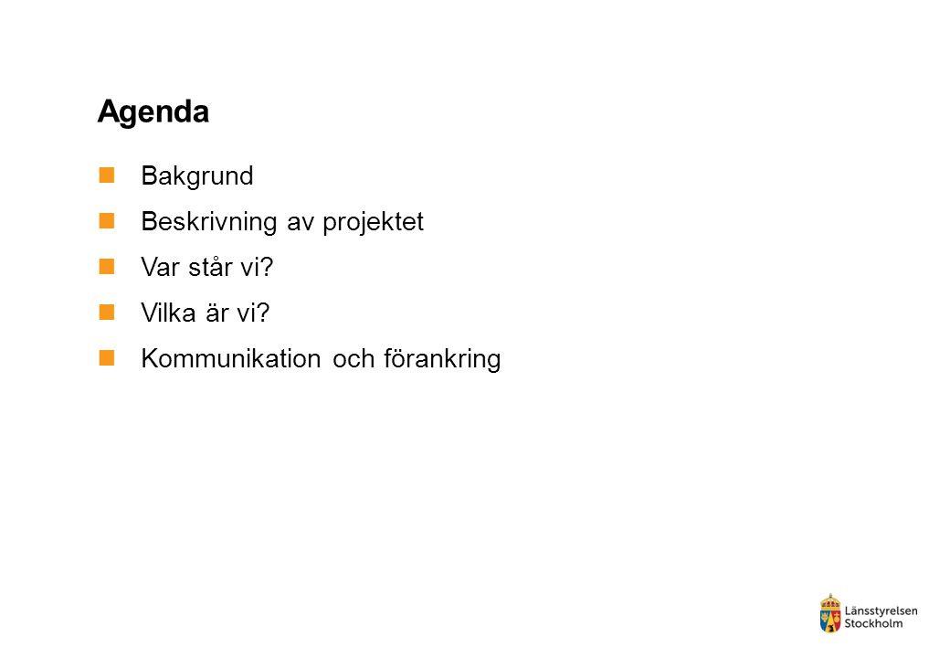 Agenda Bakgrund Beskrivning av projektet Var står vi? Vilka är vi? Kommunikation och förankring