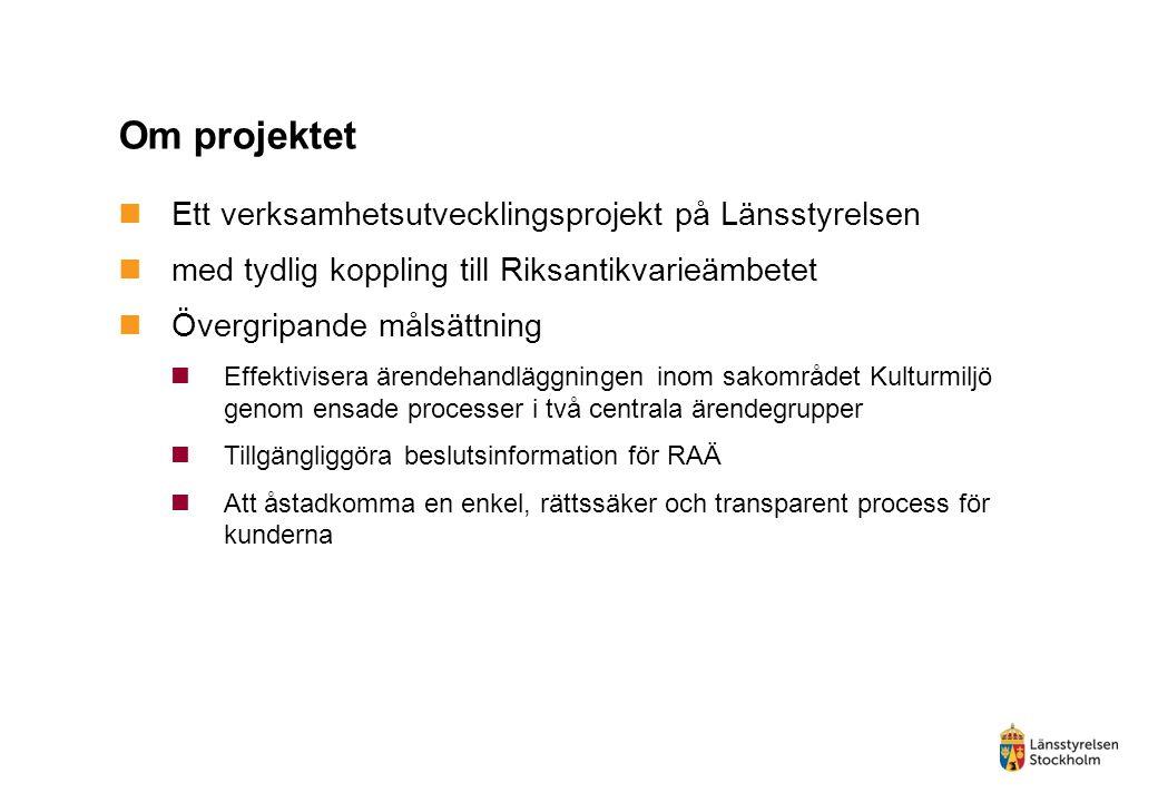 Om projektet Ett verksamhetsutvecklingsprojekt på Länsstyrelsen med tydlig koppling till Riksantikvarieämbetet Övergripande målsättning Effektivisera