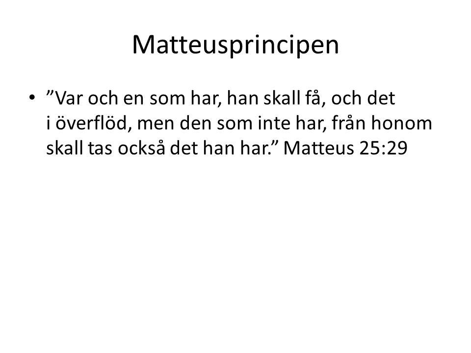 Matteusprincipen Var och en som har, han skall få, och det i överflöd, men den som inte har, från honom skall tas också det han har. Matteus 25:29