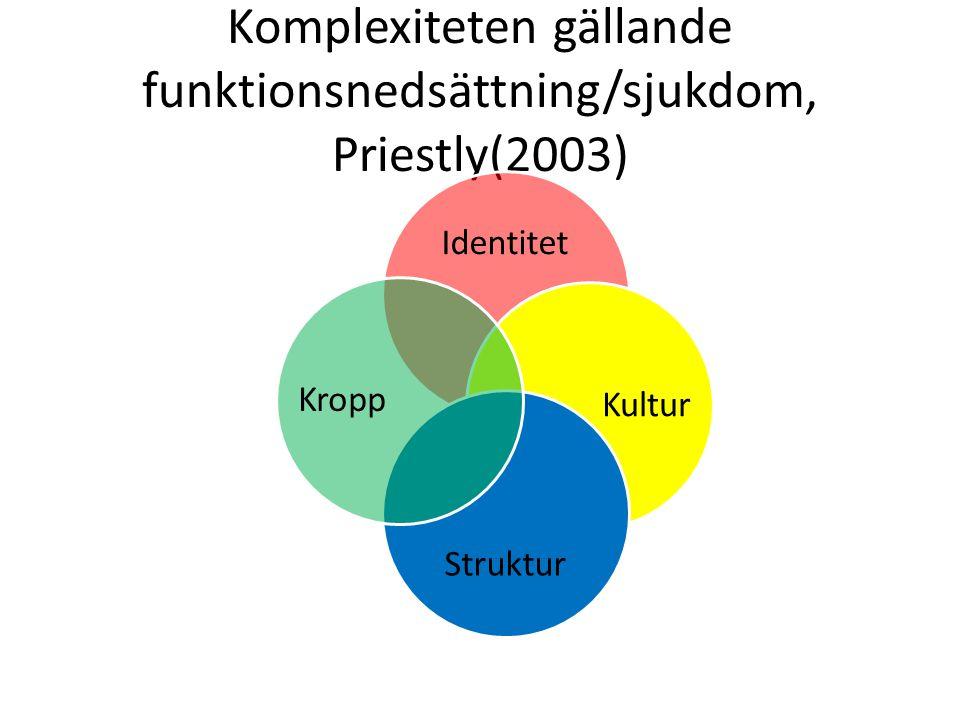 Komplexiteten gällande funktionsnedsättning/sjukdom, Priestly(2003) Identitet Kultur Struktur Kropp