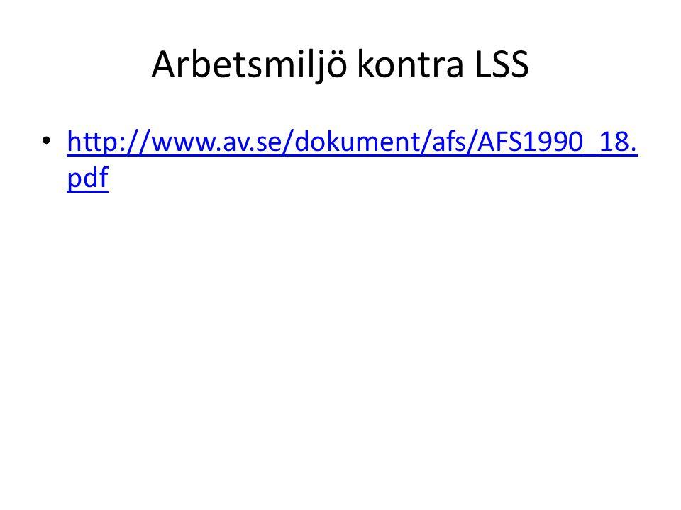 Arbetsmiljö kontra LSS http://www.av.se/dokument/afs/AFS1990_18.