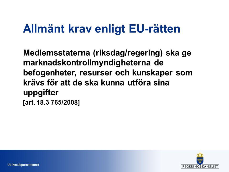 Utrikesdepartementet Allmänt krav enligt EU-rätten Medlemsstaterna (riksdag/regering) ska ge marknadskontrollmyndigheterna de befogenheter, resurser o