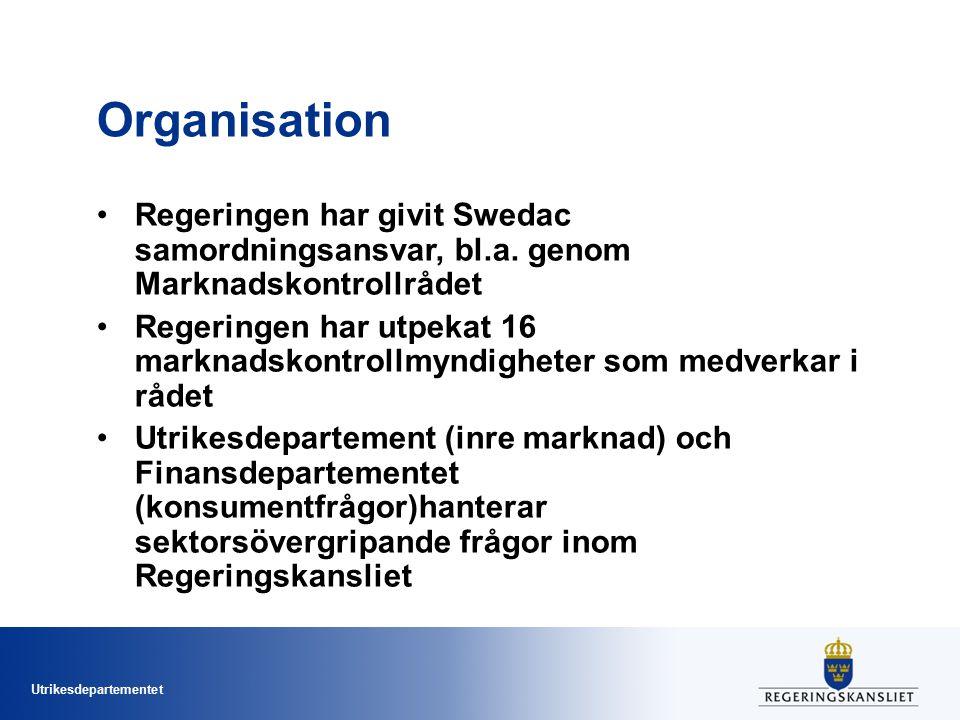 Utrikesdepartementet Organisation Regeringen har givit Swedac samordningsansvar, bl.a. genom Marknadskontrollrådet Regeringen har utpekat 16 marknadsk