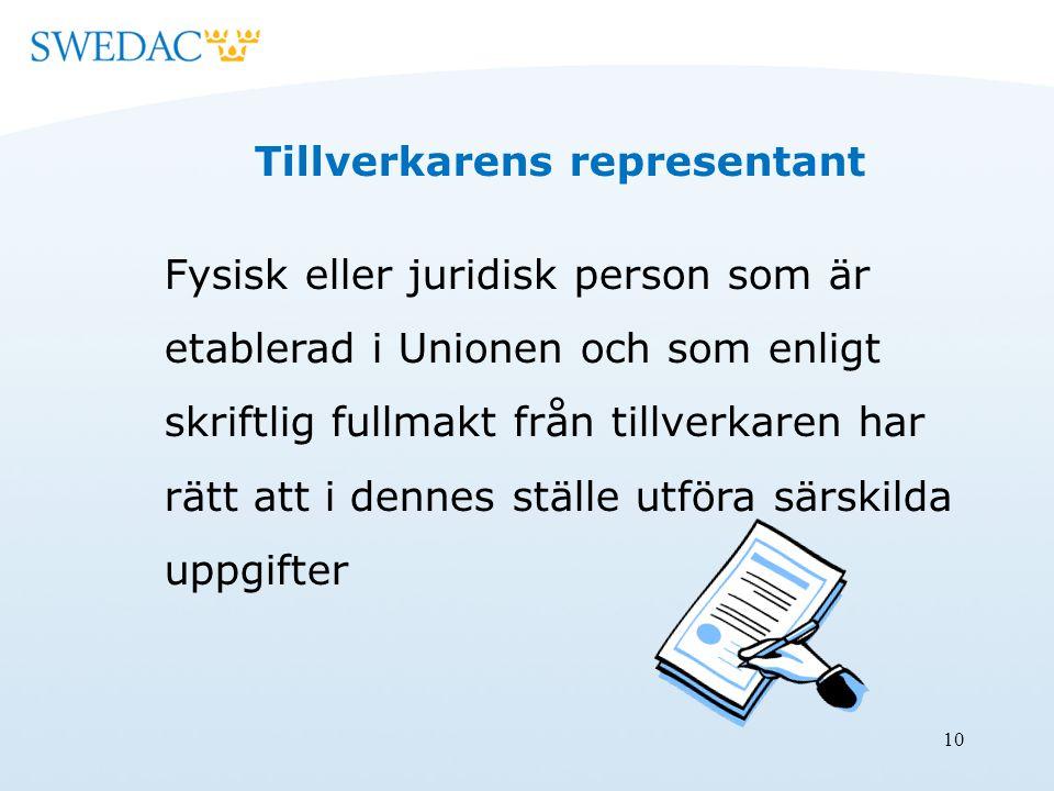 10 Tillverkarens representant Fysisk eller juridisk person som är etablerad i Unionen och som enligt skriftlig fullmakt från tillverkaren har rätt att