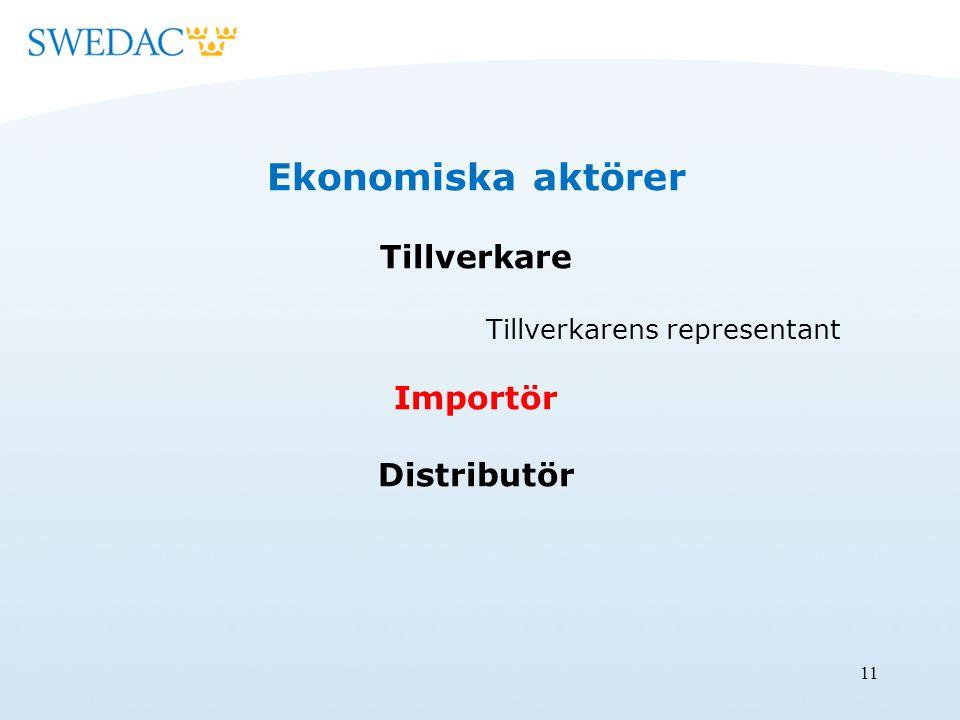11 Ekonomiska aktörer Tillverkare Tillverkarens representant Importör Distributör