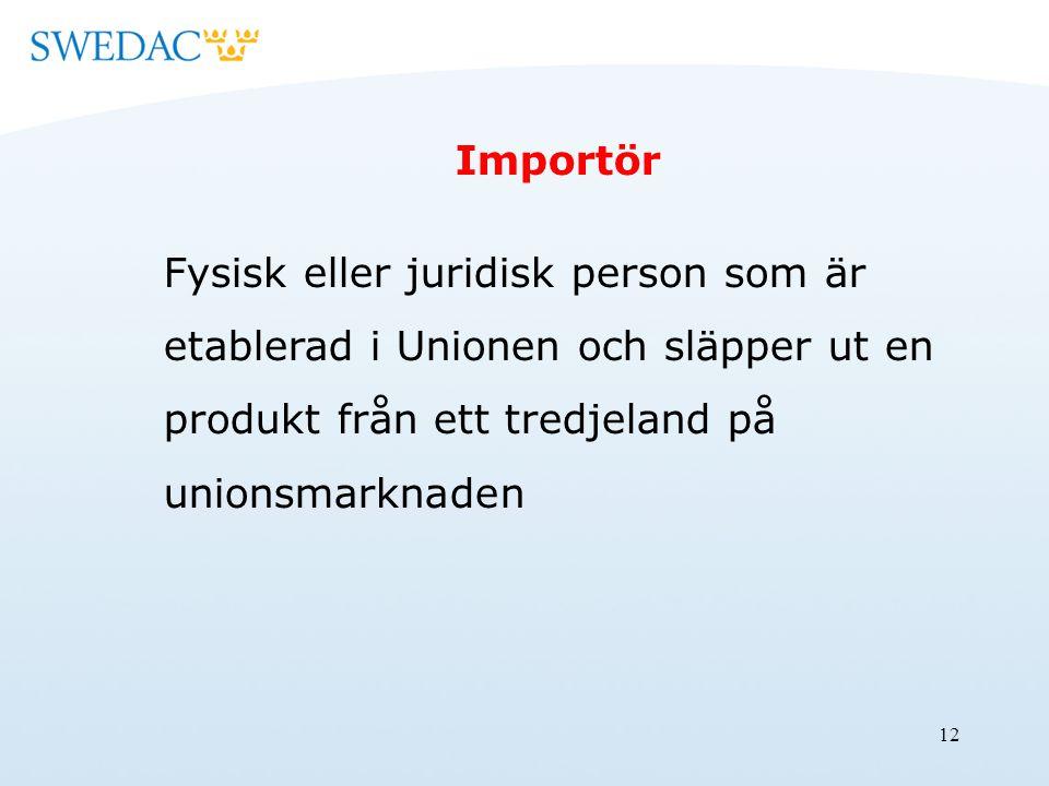 12 Importör Fysisk eller juridisk person som är etablerad i Unionen och släpper ut en produkt från ett tredjeland på unionsmarknaden