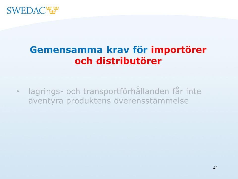 24 Gemensamma krav för importörer och distributörer lagrings- och transportförhållanden får inte äventyra produktens överensstämmelse