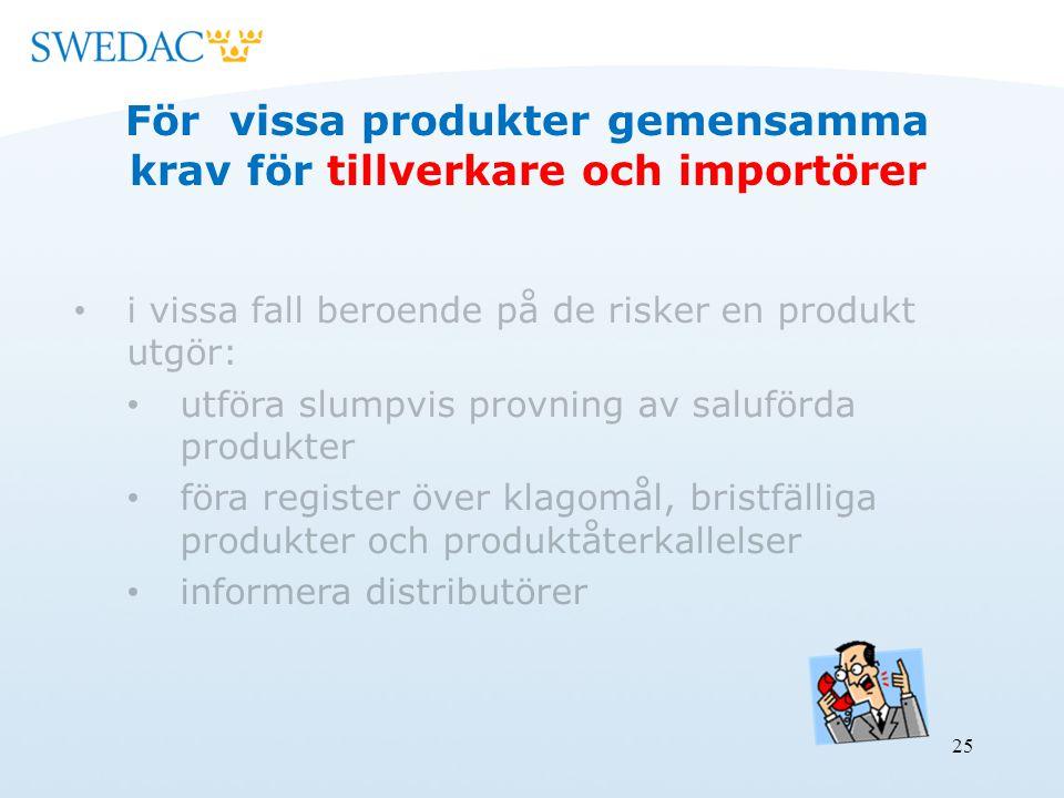 25 För vissa produkter gemensamma krav för tillverkare och importörer i vissa fall beroende på de risker en produkt utgör: utföra slumpvis provning av saluförda produkter föra register över klagomål, bristfälliga produkter och produktåterkallelser informera distributörer