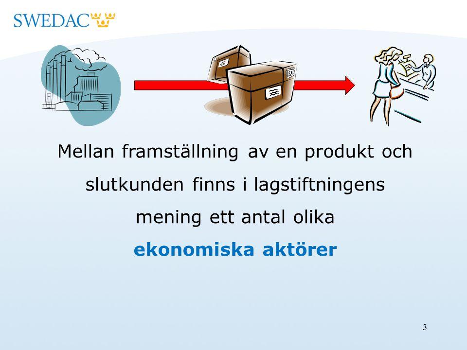 14 Distributör Varje fysisk eller juridisk person i leveranskedjan, utöver tillverkaren eller importören, som tillhandahåller en produkt på marknaden.